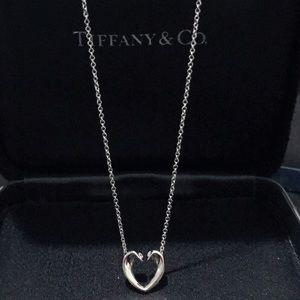 Tiffany white gold open heart with diamond